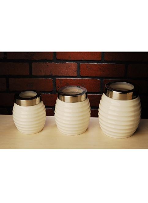 Fidex Home Porselen 3Lü Kavanoz  Renksiz